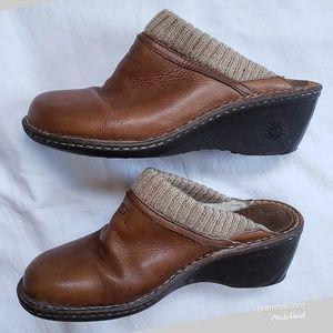 UGG Gael Leather Sheepskin Slip on Clog Mule Shoe